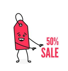 funny cartoon price tag vector image