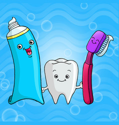 funny cartoons teeth toothbrushes and toothpas vector image