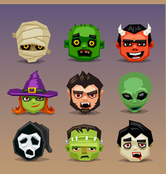 Funny halloween icons-set 5 vector