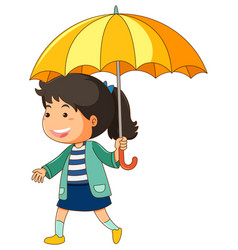 Girl with yellow umbrella vector
