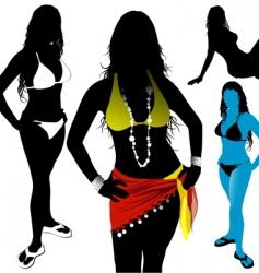 girls in bikinis vector image
