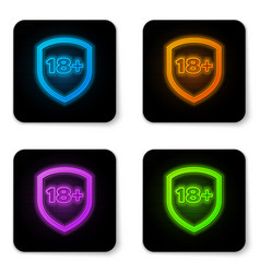 glowing neon shield with inscription 18 plus icon vector image