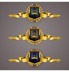 Golden shields with laurel wreath vector