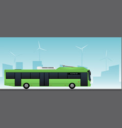 Green electric bus with pantograph vector
