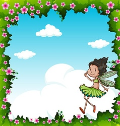 Green fairy flying in the sky vector image