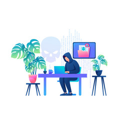 Hacker working on a laptop cyber fraud email vector