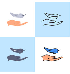 Hand and feather icon set in flat and line styles vector