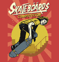 Hand drawing of skateboarding competition poster vector