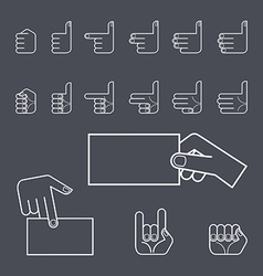 Hand gesture icon set vector