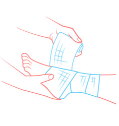 hand that bandaging the foot first aid vector image