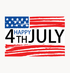 happy 4th of july inscription written on american vector image