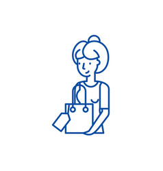 housewife line icon concept housewife flat vector image