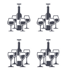 icons of red wine bottles with corkscrew and wine vector image