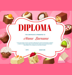 Kids diploma certificate template with chocolate vector