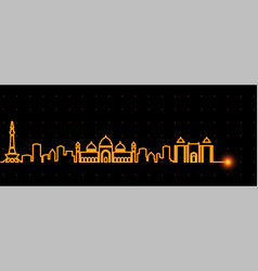 Lahore light streak skyline vector