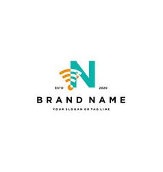 Letter n wireless logo design vector