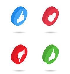 like isometric icon button with heart thumb vector image
