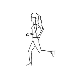 line healthy woman doing exercise vector image