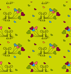 little bunny and balloons seamless patterns vector image