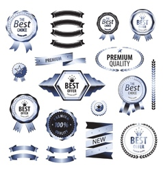 Luxury silver premium quality best choice labels vector