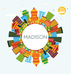 madison wisconsin skyline with color buildings vector image