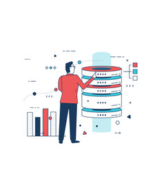 man and server hardware vector image