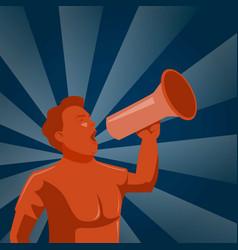 man announcing through megaphone or mouthpiece vector image