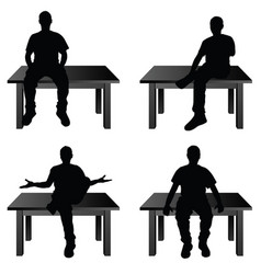 man siting on table in various poses vector image