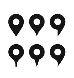 map pin sign different shaped simple black icons vector image