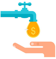 Money tap with faucet and coin drop flat vector