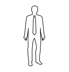 Monochrome contour of businessman with tie in vector
