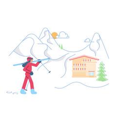 mountain ski resort concept vector image