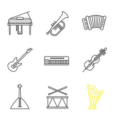 musical instruments linear icons set vector image