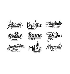 Names of cities paris prague istanbul seoul vector