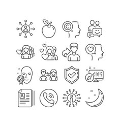 networking woman love and face verified icons vector image