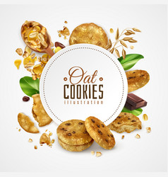 Oat cookies frame realistic vector