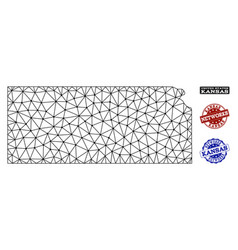 Polygonal network mesh map of kansas state vector
