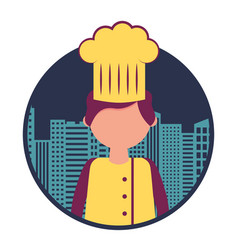 restaurant chef with cityscape vector image