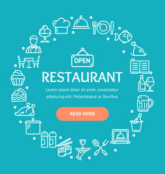 restaurant signs round design template thin line vector image