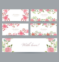 romantic collection of greeting cards with vector image