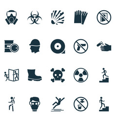 Safety icons set with chemical storage no weapon vector