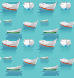 seamless pattern boat sailing in blue sea the vector image