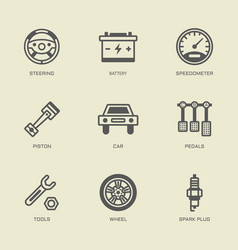 set car service isolated outline icons vector image