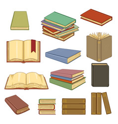 set cartoon books vector image