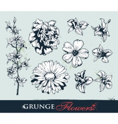 set grungy flowers vector image
