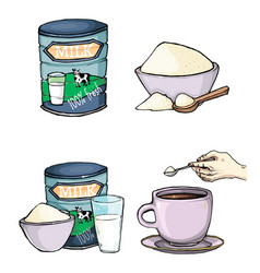 set of cartoon of milk powder vector image