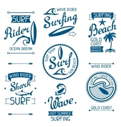 Set surfing labels and emblems on white background vector