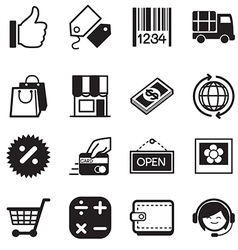 Shopping online silhouette icons vector