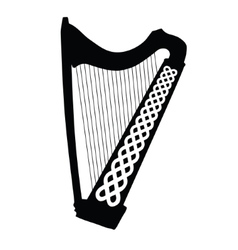 Silhouette of Celtic Harp with ornament isolated vector image