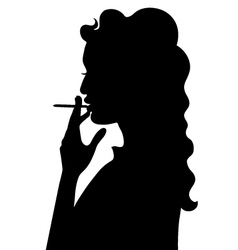 Silhouette of smoking girl vector